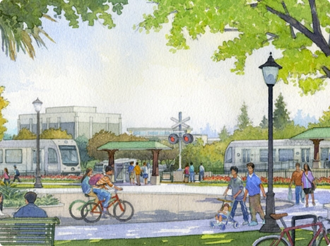 Artist's rendering of the Azusa Citrus Gold Line Station at the edge of Citrus College