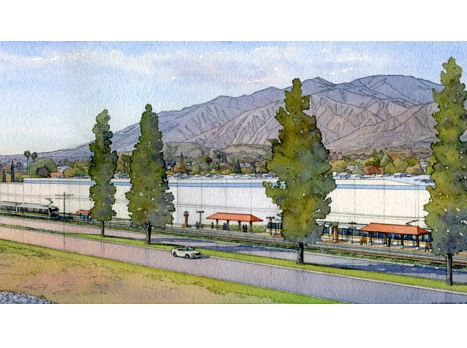 Artist rendering of Metro Gold Line Duarte Station and transit center pictured against the foothills