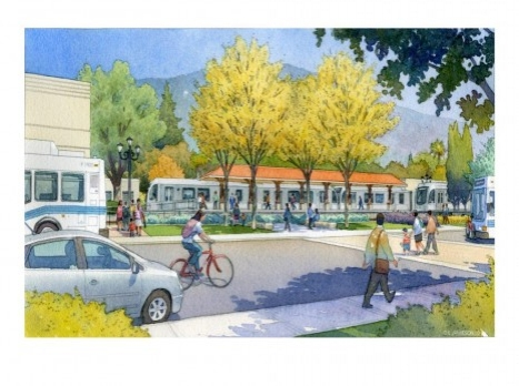 Azusa-Alameda Gold Line Station rendering w/old Santa Fe station in background