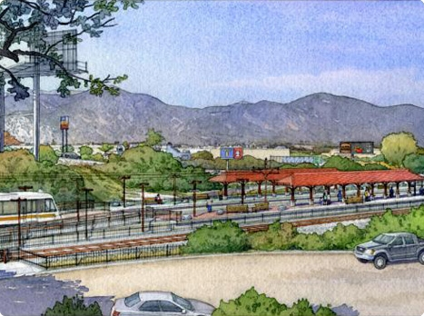 Rendering of Irwindale Gold Line station and transit center from overhead with mountains in background